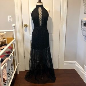 bebe NEW Sheer Tulle Gown with Polka Dot Detailing